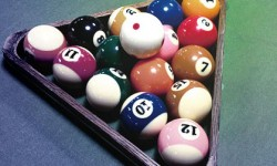 pocket billiards balls and rack